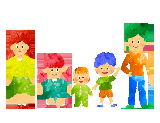 【無料素材】5人家族のイラスト