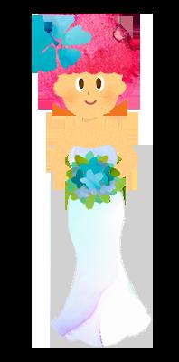 【フリー素材】花嫁・マーメイドドレスのイラスト
