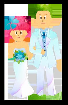 【フリー素材】新郎新婦、結婚式のイラスト