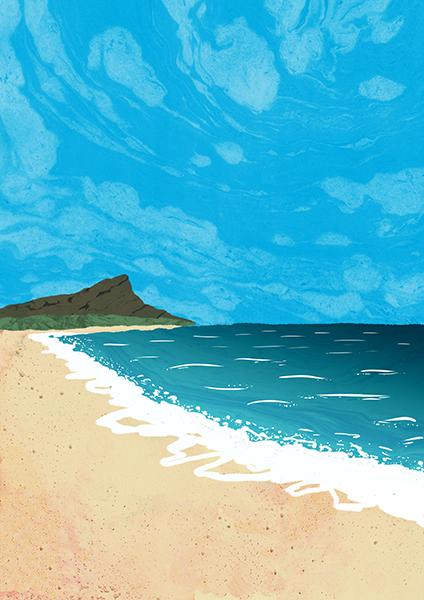 フリー素材集。ハワイの海のイラスト