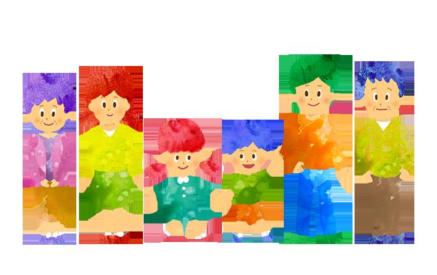 フリー素材:6人家族(祖父母)のイラスト