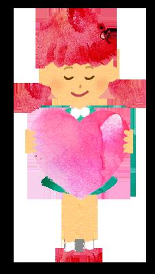【無料】ハートを持つ女の子のイラスト