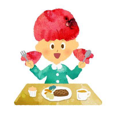 フリー素材;食事をする女の子のイラスト