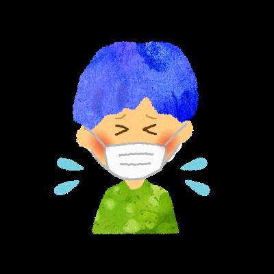 フリー素材:マスクをして泣いている男の子のイラスト