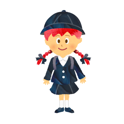 【フリー素材】幼稚園の制服・園服を着た女の子・私立小学生のイラスト