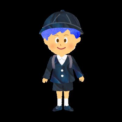 フリー素材:幼稚園の園服・制服を着た男の子、私立小学生のイラスト
