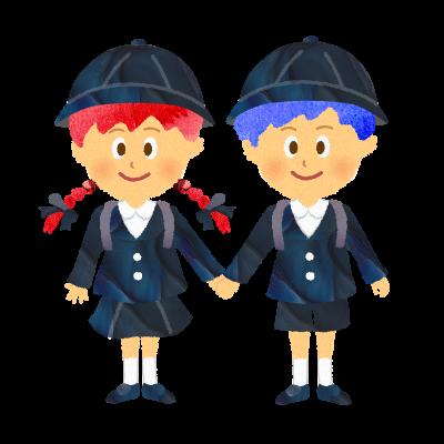 手を繋ぐ幼稚園・私立小学校の男の子と女の子のイラスト