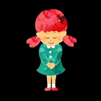 フリーイラスト:お礼・挨拶・おじぎをする女の子のイラスト