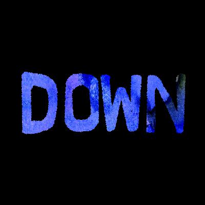 フリー素材:DOWN(ダウン)英語文字のイラスト