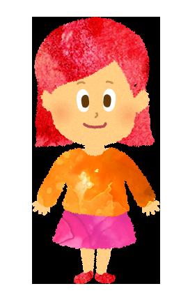 小さい女の子のイラスト。園児・幼児。