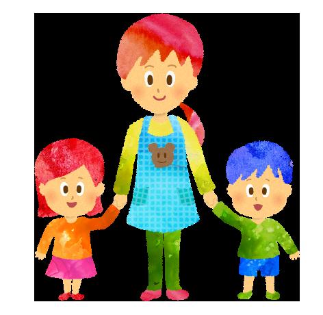 手を繋いだ保育園の先生と子供・園児達のイラスト