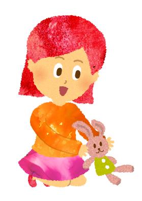うさぎの人形で遊ぶ女の子のイラスト