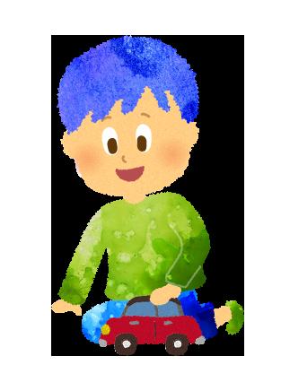 車のおもちゃで遊ぶ小さい男の子のイラスト
