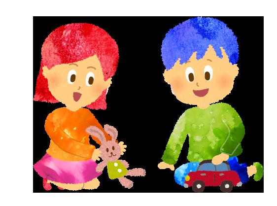 フリー素材:おもちゃで遊ぶ男の子と女の子のイラスト
