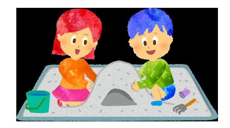 フリー素材:公園の砂場で遊ぶ男の子と女の子のイラスト