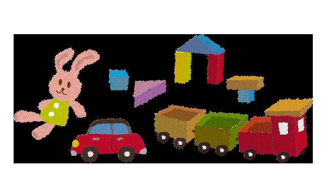無料素材うさぎの人形と車と積み木と汽車のおもちゃのイラスト