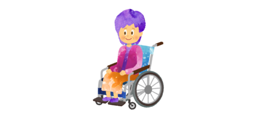 車椅子に乗った年配の女性のイラスト