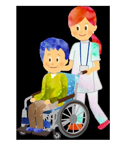 車椅子を押す看護師・看護婦のイラスト