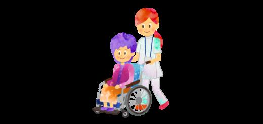 車椅子を押す女性看護師のイラスト