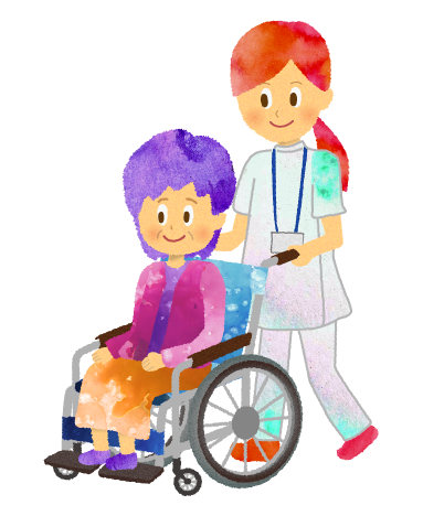 女性の車椅子を押す看護師・看護婦のイラスト