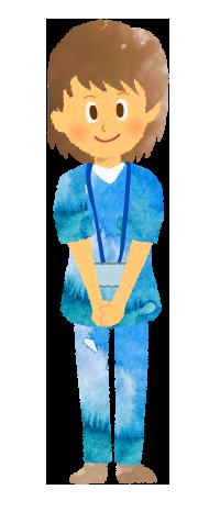 フリー素材;女性看護師・理学療法士のイラスト