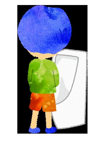 無料素材;男性用便器で立ちしょんする男の子のイラスト