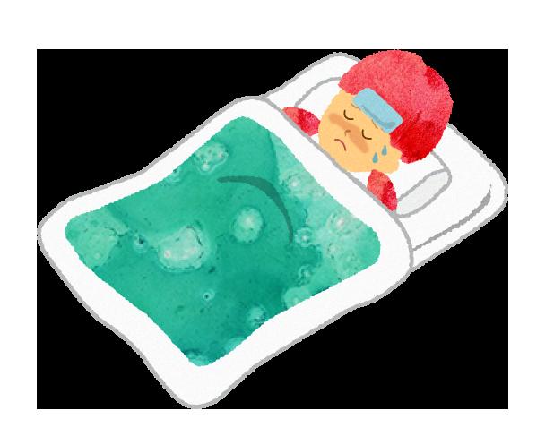 フリー素材:風邪や病気で寝込む女の子のイラスト