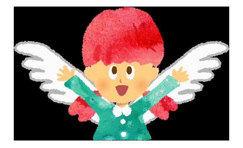 羽の生えた天使のイラスト@無料素材