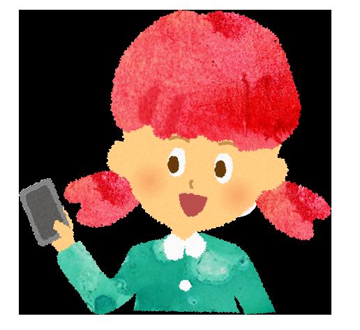 フリー素材:スマホを手に持つ女の子のイラスト