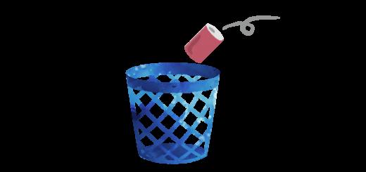 ゴミ箱に空き缶を入れるイラスト