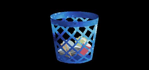 ゴミが入っているゴミ箱のイラスト