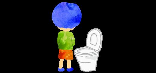 洋式トイレで立ちションする男の子のイラスト