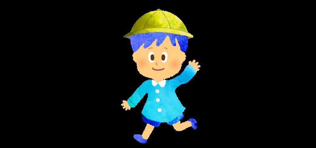 スモックを着た走る小さい男の子のイラスト