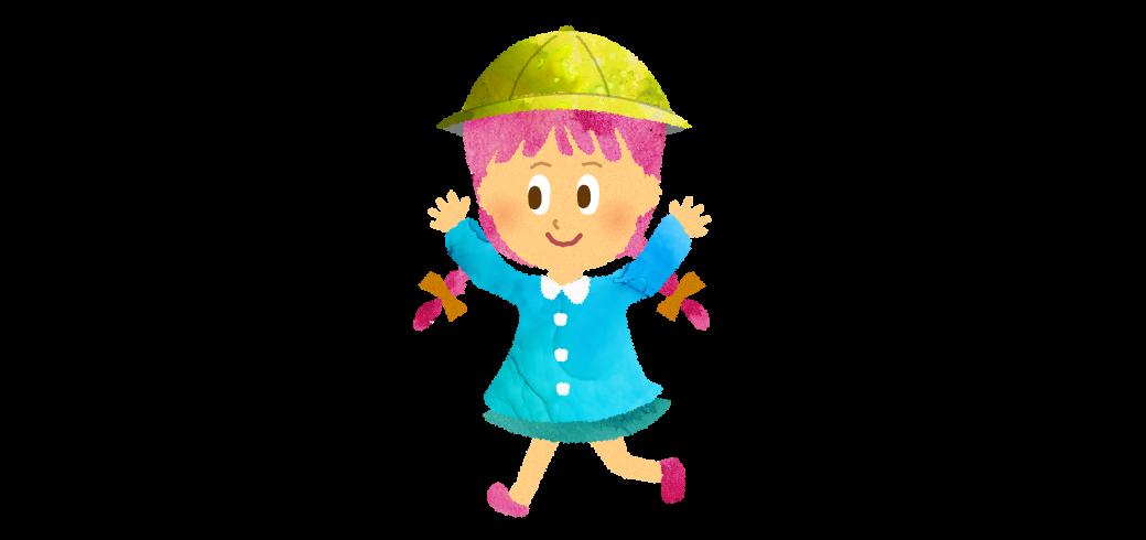 スモックを着て黄色い帽子をかぶっているおさげの女の子のイラスト