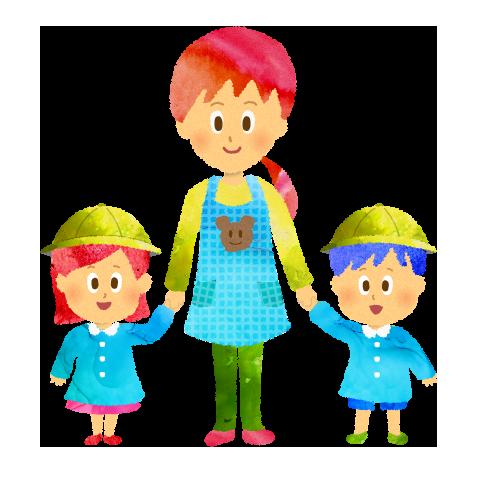 無料素材;手を繋いだ幼稚園の先生(保育士)と園児のイラスト