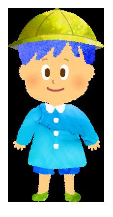 フリー素材;スモックを着た園児のイラスト