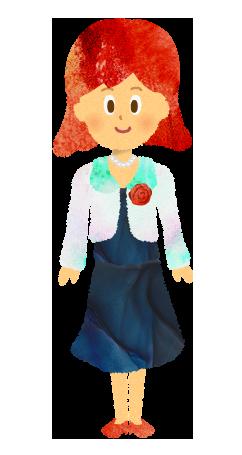 無料素材;正装・スーツ・入学式のママ・母・女性のイラスト