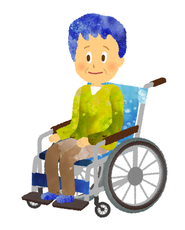 車椅子に乗っている年輩の男性のイラスト