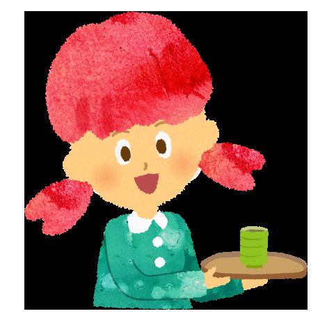 お茶を出す女の子のイラスト【フリー素材】