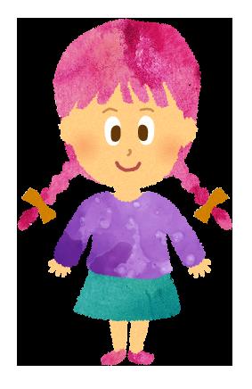 小さいおさげの女の子のイラスト【フリー素材】