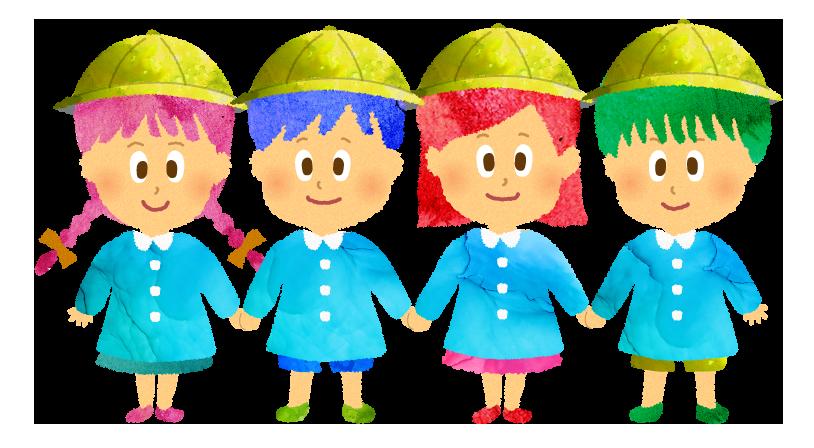手を繋ぐ園児のイラスト【フリー素材】