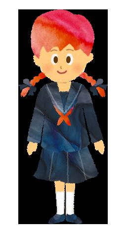 セーラー服を着ている女子学生のイラスト【フリー素材】
