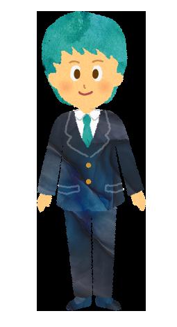 スーツタイプの制服を着ている男子学生のイラスト【フリー素材】