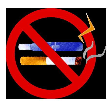 電子たばこも含む禁煙マークのイラスト【無料素材】