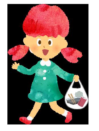 ゴミを持ち帰る笑顔の女の子のイラスト【無料素材】