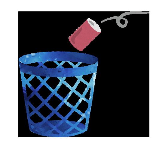 ゴミ箱と投げ込まれるカンのイラスト【無料素材】