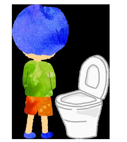 洋式トイレで立っておしっこをする男の子のイラスト