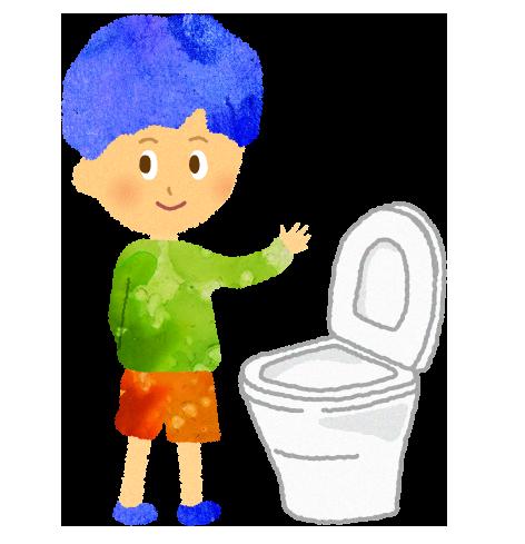 洋式便器で立ちしょんをする男の子のイラスト