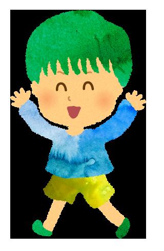 楽しそうに走る緑の髪の毛の男の子のイラスト
