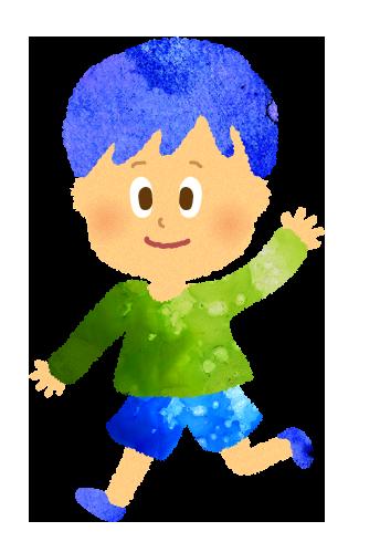 走る男の子のイラスト(幼稚園・保育園児)
